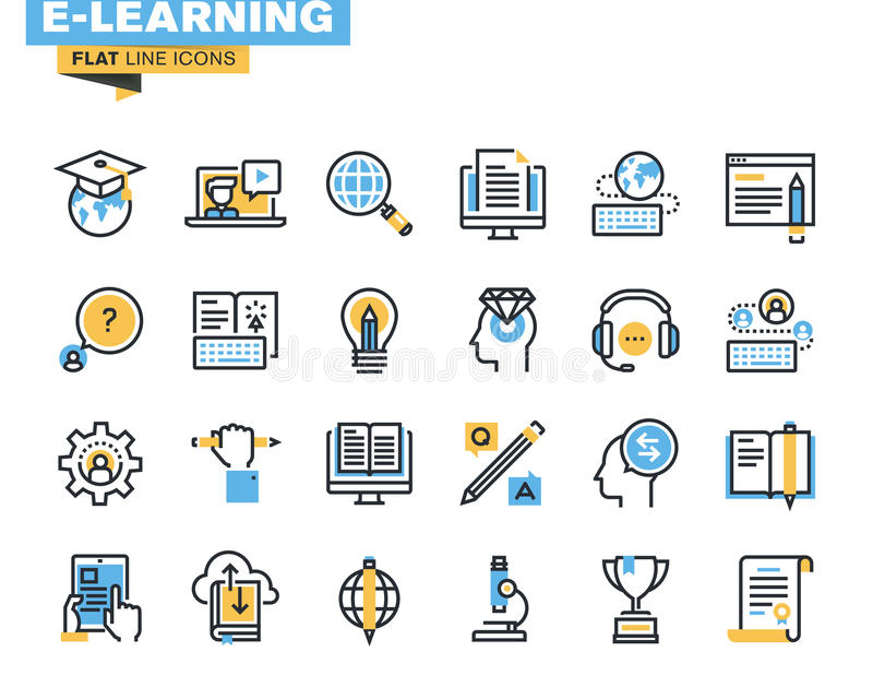 Flat line icons set of e-learning. Distance education, online training and courses, cloud solutions for education, video tutorials, staff training, digital vector illustration