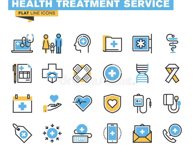 Flat line icons set of health treatment service. Flat line icons set of online medical support, family health care, health insurance, pharmacy, medical services royalty free illustration