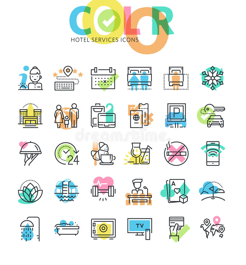 Flat line icons set of hotel booking, accommodation, hotel services and facilities. Modern design icons for web and app design and development royalty free illustration