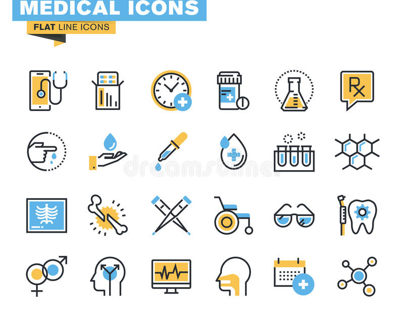 Flat line icons set of medical supplies. Healthcare diagnosis and treatment, laboratory tests, medicines and equipment. Vector concept for graphic and web royalty free illustration