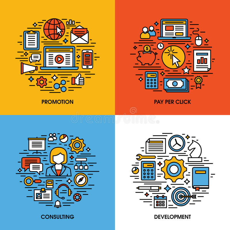 Flat line icons set of promotion, pay per click, consulting, development. Creative design elements for websites, mobile apps and. Printed materials stock illustration