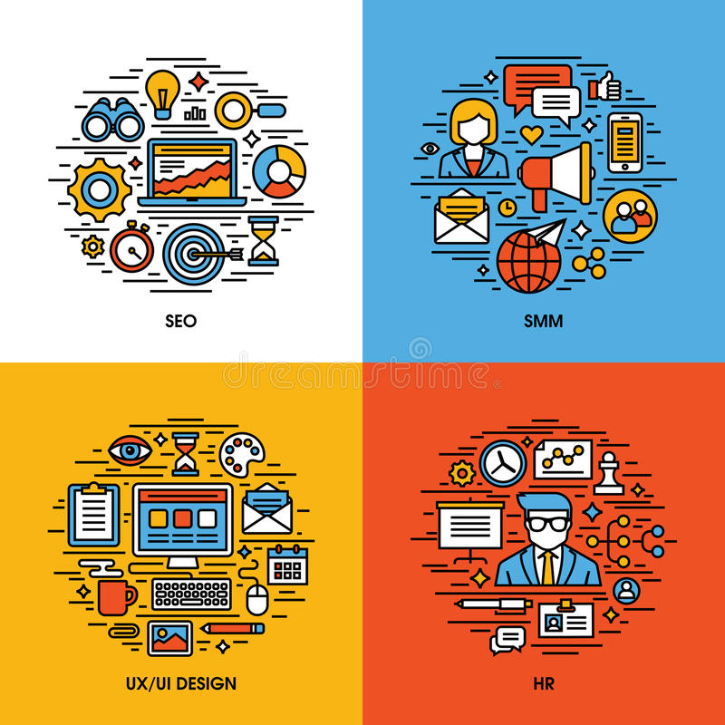 Flat line icons set of SEO, SMM, UI and UX design, royalty free illustration