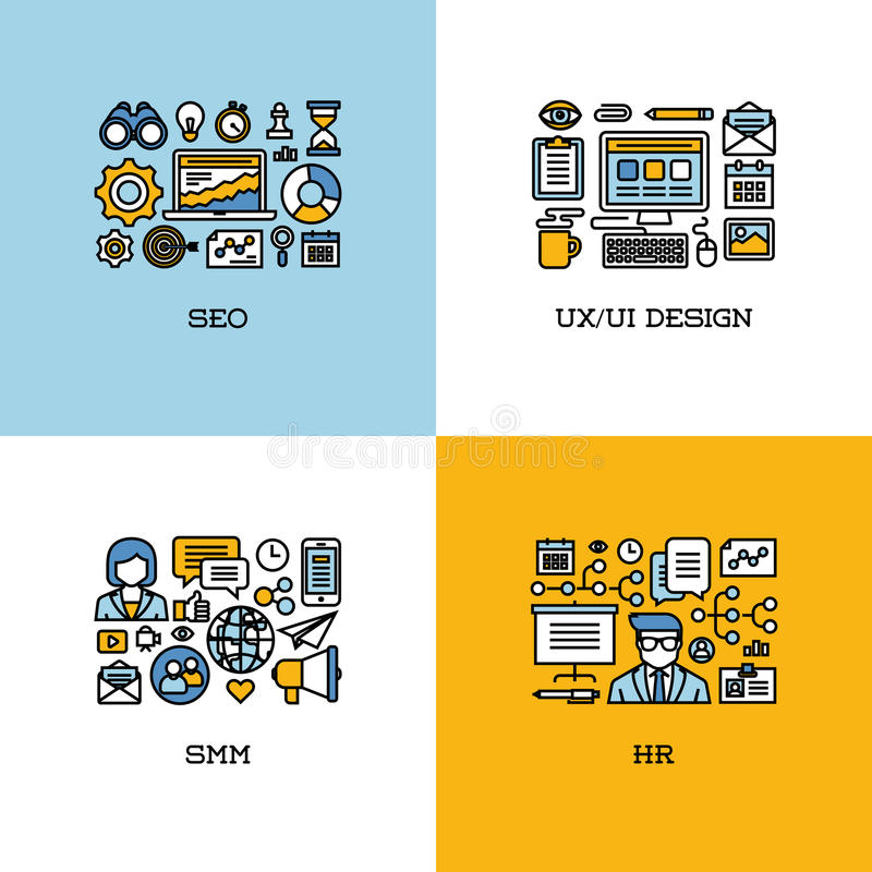 Flat line icons set of SEO, UI and UX design, SMM, HR. Creative. Design elements for websites, mobile apps and printed materials stock illustration