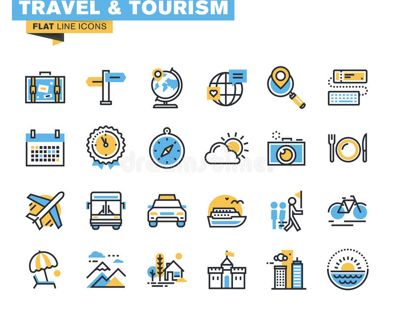 Flat line icons set of travel and tourism. Sign and object, holiday trip planning, online travel services, tour organization, air travel to cruise, summer and royalty free illustration