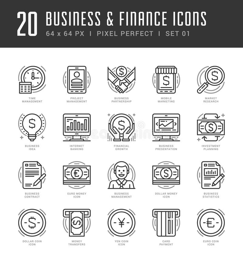 Flat line icons set. Trendy Modern thin linear. Stroke vector icons Business and Finance concept. For website graphics, Mobile Apps, Infographics design vector illustration