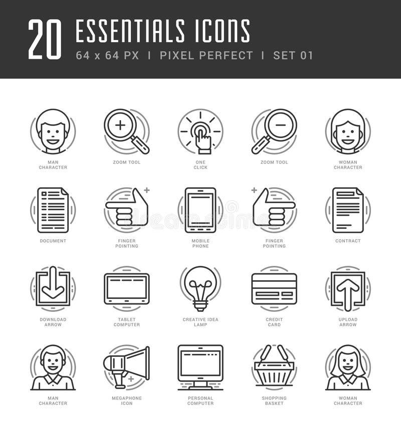 Flat line icons set. Trendy Modern thin linear vector illustration