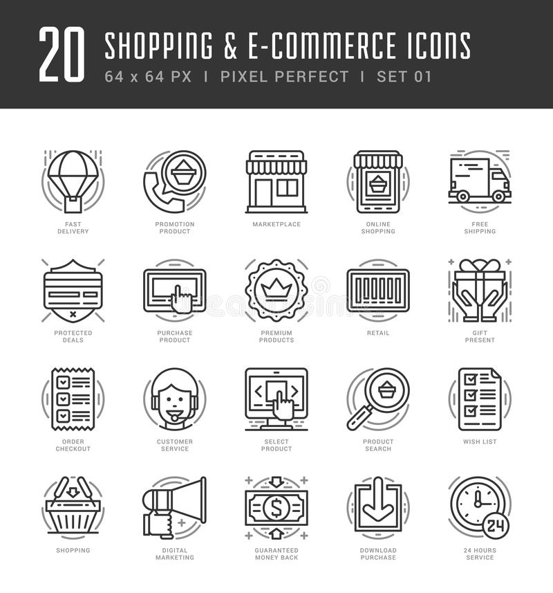 Flat line icons set. Trendy Modern thin linear. Stroke vector icons Shopping and E-Commerce concept. For website graphics, Mobile Apps, Infographics design vector illustration