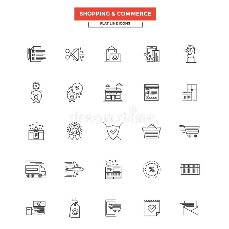 Flat Line Icons- Shopping and commerce. Set of Modern Flat Line icon Concept of shopping, e-commerce, m-commerce, delivery, use in Web Project and Applications vector illustration