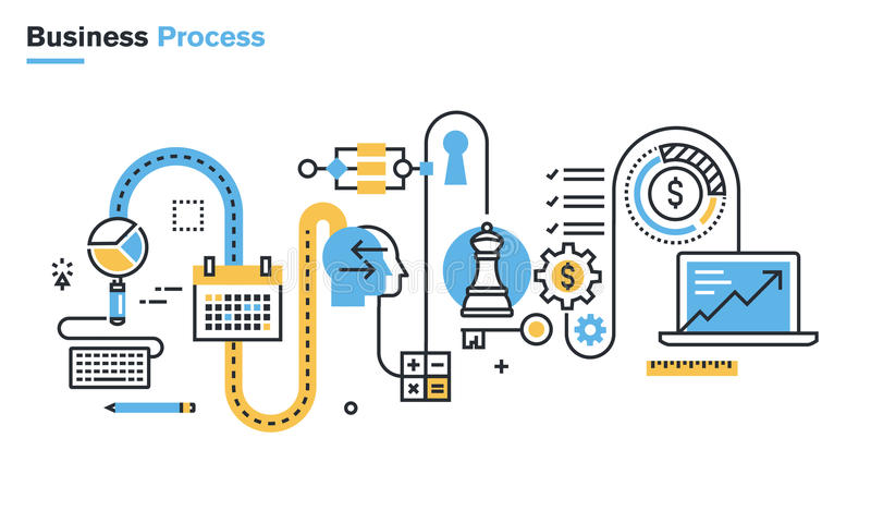 Flat line illustration of business process vector illustration