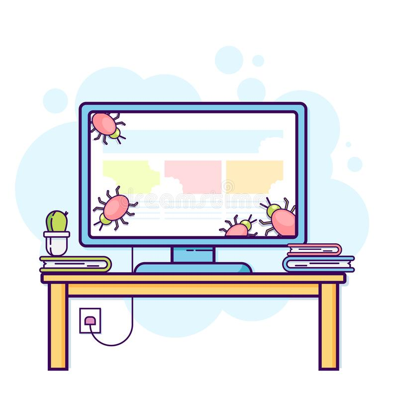 Flat line illustration of office computer with viruses. Modern vector concept, vector illustration
