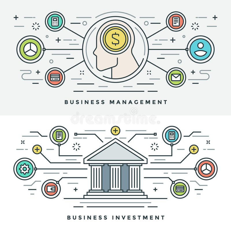 Flat line Investment and Business Management Concept Vector illustration. Modern thin linear stroke vector icons. stock illustration