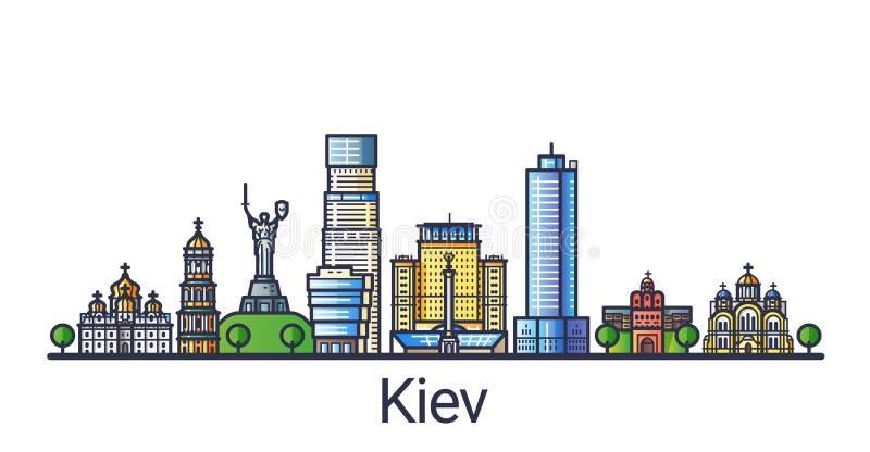 Flat line Kiev banner stock illustration