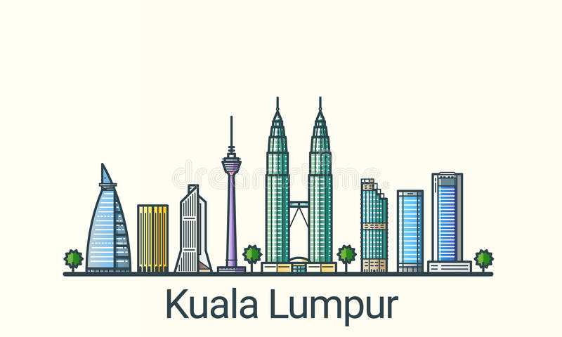 Flat line Kuala Lumpur banner. Banner of Kuala Lumpur in flat line trendy style. All buildings separated and customizable. Line art royalty free illustration