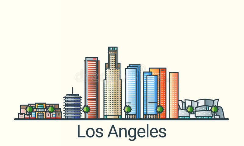 Flat line Los Angeles banner vector illustration