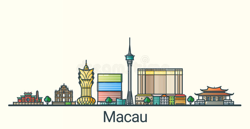 Flat line Macau banner stock illustration