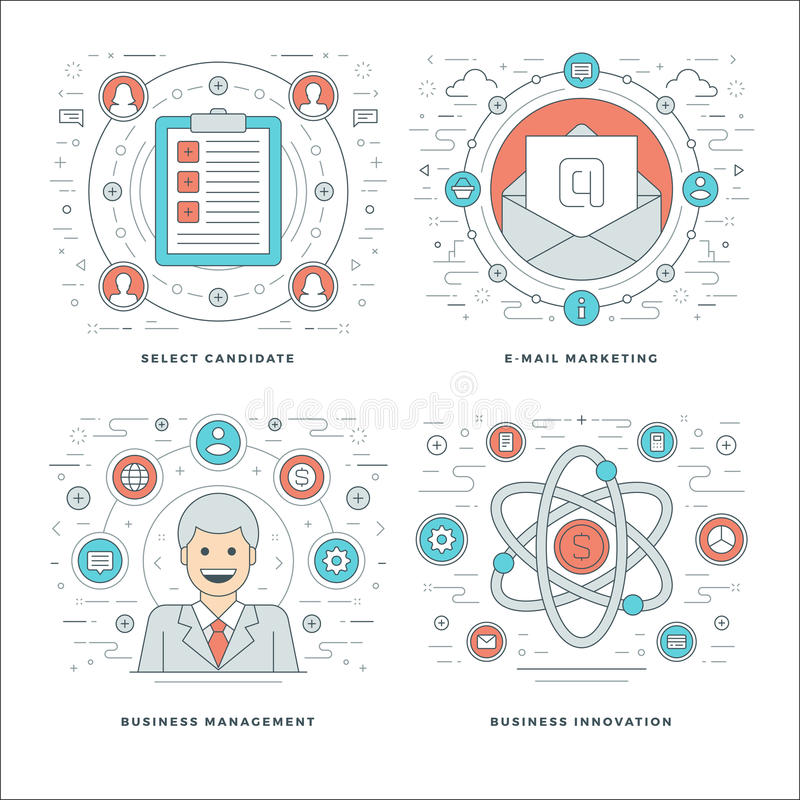 Flat line Management, Employee Search, E-mail Marketing, Business Concepts Set Vector illustrations. Modern thin linear stroke vector icons. Website Header royalty free illustration