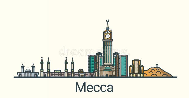 Flat line Mecca banner stock illustration