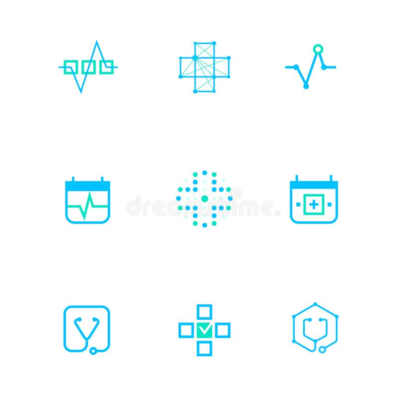Flat line medicine icons monochrome blue emblem logos,web online concept.Logo of Heart pulse,red cross,medical chart. Stethoscope icon in different shapes and stock illustration