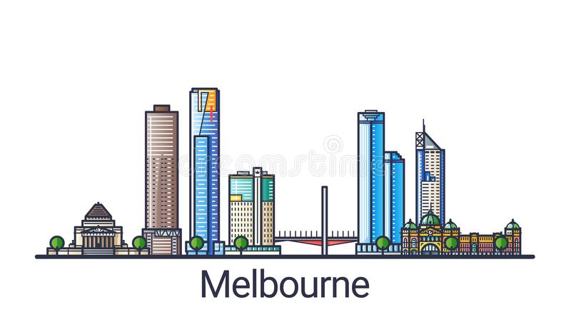 Flat line Melbourne banner. Banner of Melbourne city in flat line trendy style. Melbourne city line art. All buildings separated and customizable vector illustration