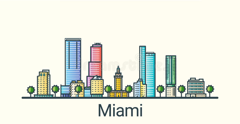 Flat line Miami banner. Banner of Miami city in flat line trendy style. All buildings separated and customizible. Line art stock illustration