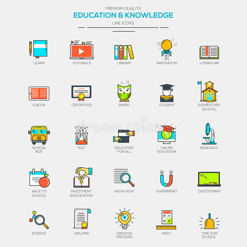 Flat Line Modern Color icons. For Education and Knowledge. Vector vector illustration