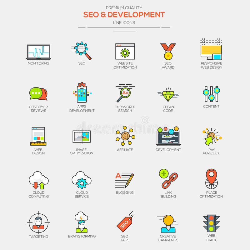 Flat Line Modern Color icons. For Seo and Development. Vector royalty free illustration