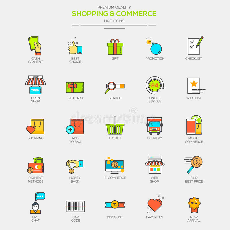 Flat Line Modern Color icons. For Shopping and Commerce. Vector stock illustration