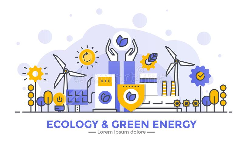 Flat Line Modern Concept Illustration - Ecology and Green Energy stock illustration
