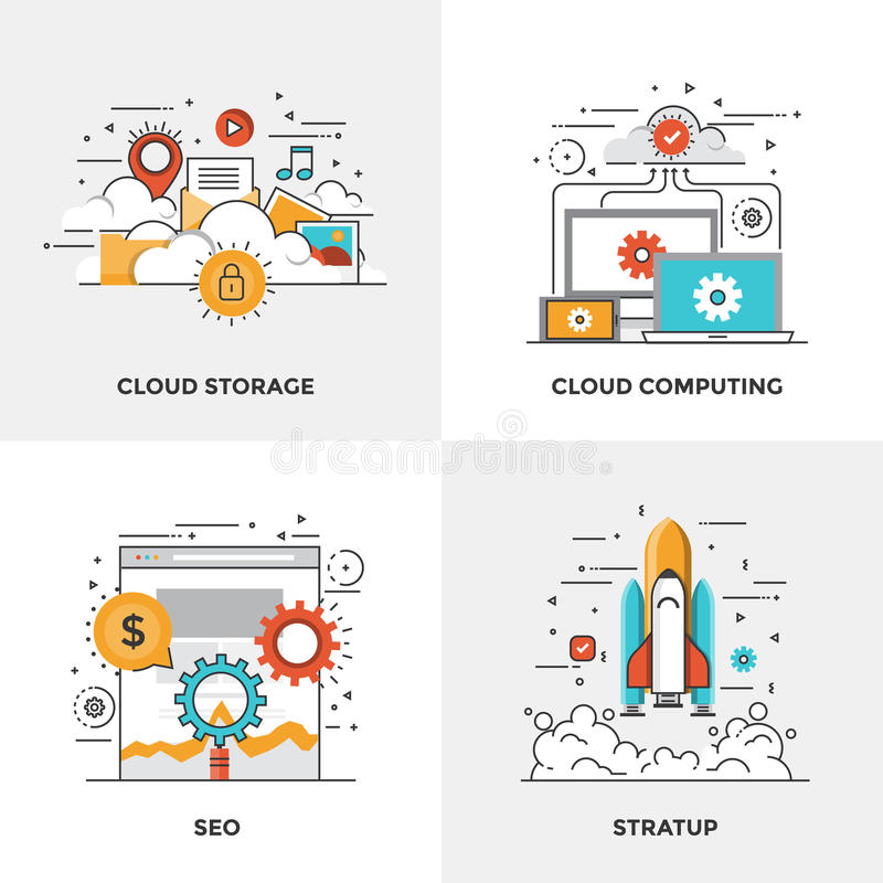 Flat line Modern Concepts. Modern flat color line designed concepts icons for Cloud Storage, Cloud Computing, Seo and Startup. Can be used for Web Project and stock illustration