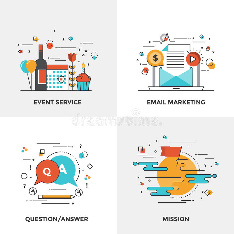 Flat line Modern Concepts. Modern flat color line designed concepts icons for Event Service, Email Marketing, Question and Answer and Mission. Can be used for royalty free illustration