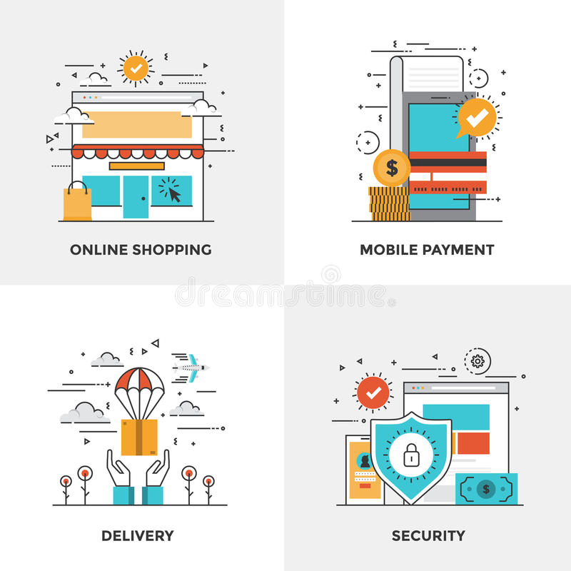 Flat line Modern Concepts. Modern flat color line designed concepts icons for Online Shopping, Mobile Payment, Delivery and Security. Can be used for Web Project stock illustration