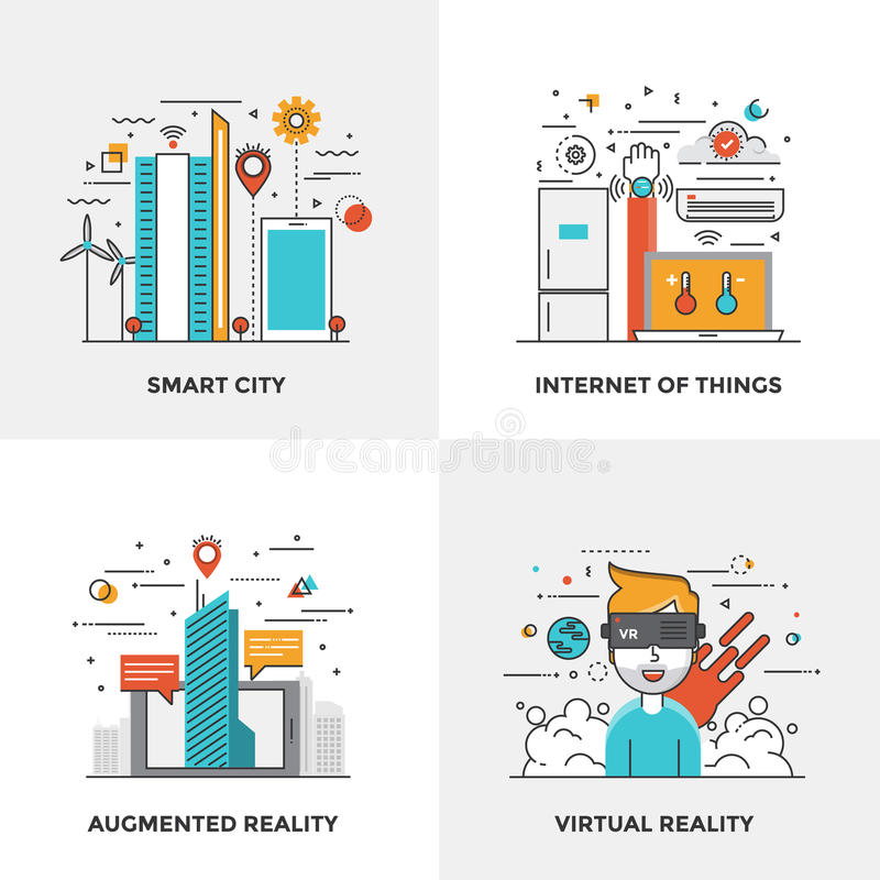 Flat line Modern Concepts. Modern flat color line designed concepts icons for Smart City, Internet of Things, Augmented Reality and Virtual Reality. Can be used vector illustration