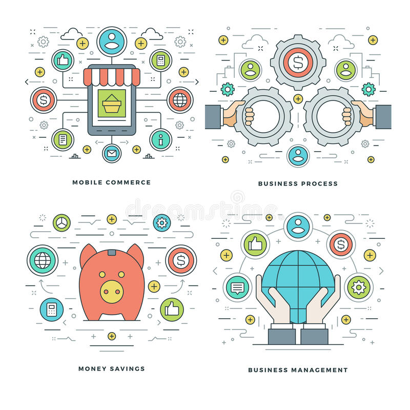 Flat line Money Savings, Internet Shopping, Mobile Payments, Business Process Concepts Set Vector illustrations. Modern thin linear stroke vector icons royalty free illustration