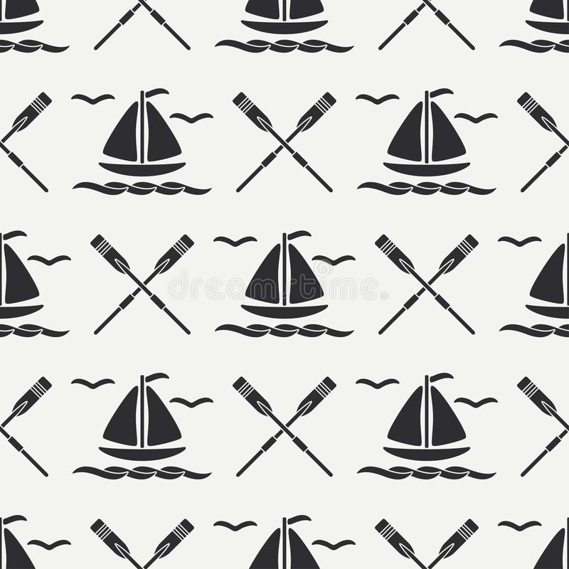 Flat line monochrome vector seamless pattern ocean boat with sail, paddle. Cartoon retro style. Regatta. Seagull. Summer. Flat line monochrome vector seamless stock illustration