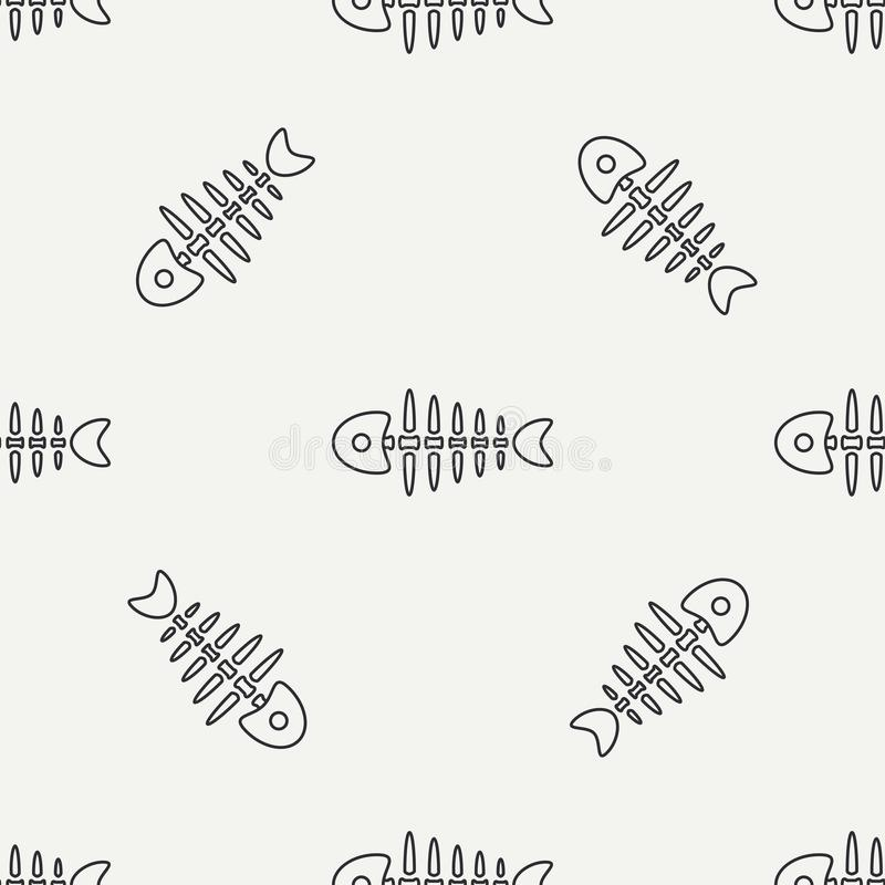 Flat line monochrome vector seamless pattern ocean fish bone, skeleton. Simplified retro. Childish cartoon style. Skull. Sea doodle art. Background stock illustration