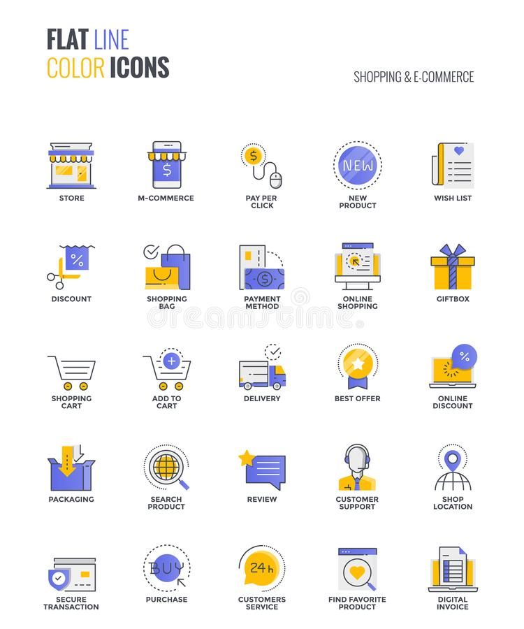 Flat line multicolor icons design-Shopping and E commerce. Set of flat line smooth gradient color icons for Shopping and E-commerce, suitable for mobile concepts stock illustration