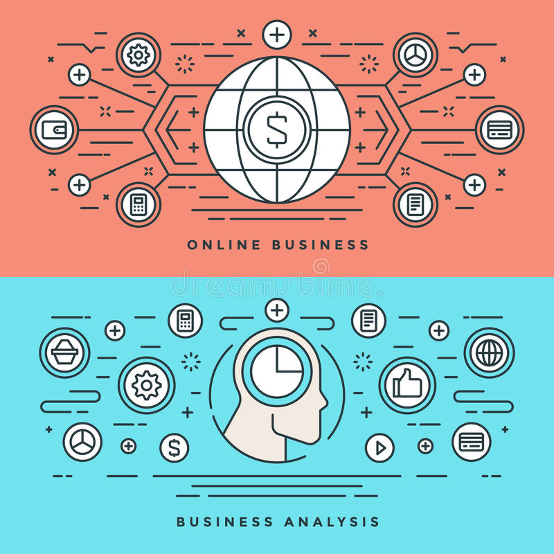 Flat line Online Business Analysis Concept Vector illustration. Modern thin linear stroke vector icons. stock illustration