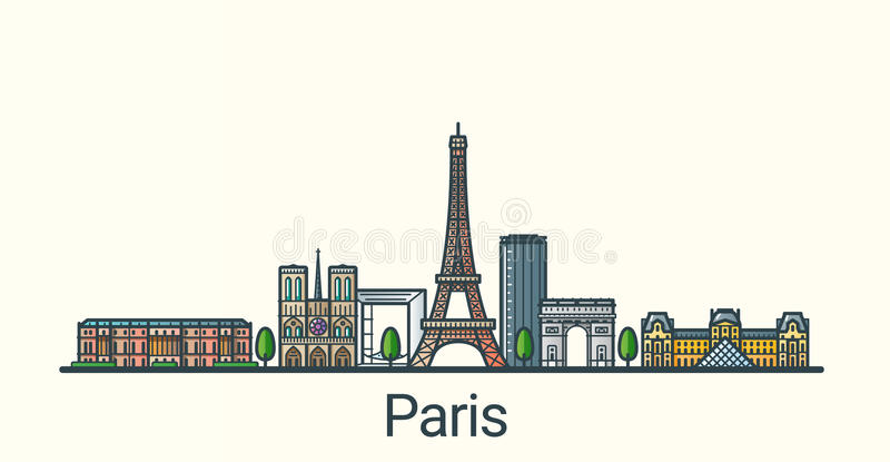 Flat line Paris banner. Banner of Paris city in flat line trendy style. All buildings separated and customizable. Line art royalty free illustration