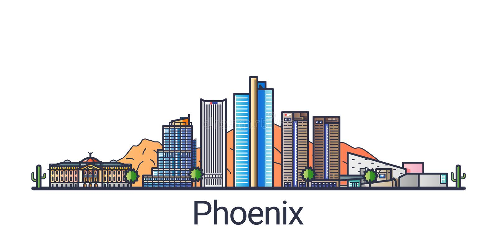 Flat line Phoenix banner. Banner of Phoenix city in flat line trendy style. Phoenix city line art. All buildings separated and customizable vector illustration
