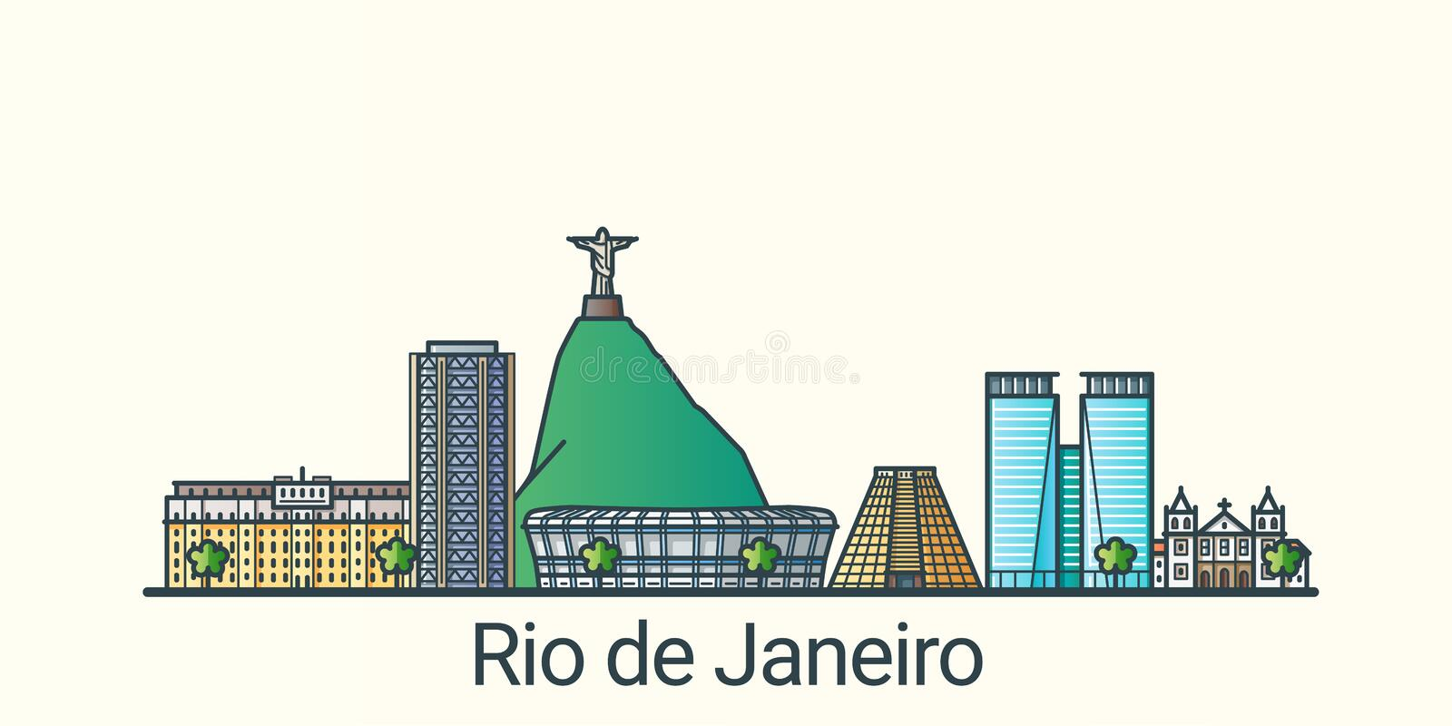 Flat line Rio de Janeiro banner. Banner of Rio de Janeiro city in flat line trendy style. Rio de Janeiro city line art. All buildings separated and customizable royalty free illustration