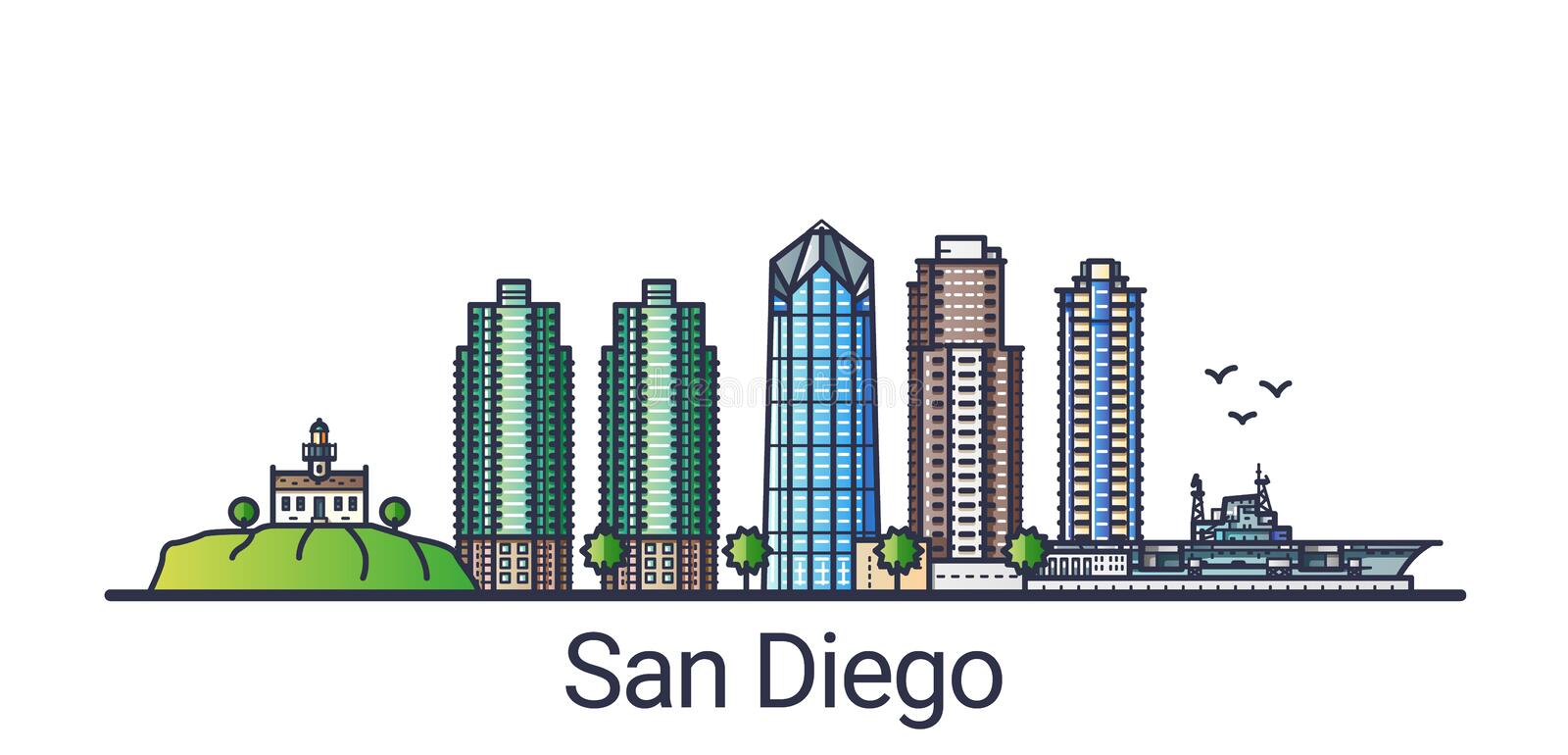 Flat line San Diego banner. Banner of San Diego city in flat line trendy style. San Diego city line art. All buildings separated and customizable vector illustration