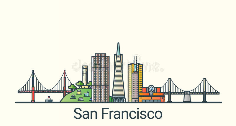 Flat line San Francisco banner. Banner of San Francisco city in flat line trendy style. San Francisco city line art. All buildings separated and customizable vector illustration
