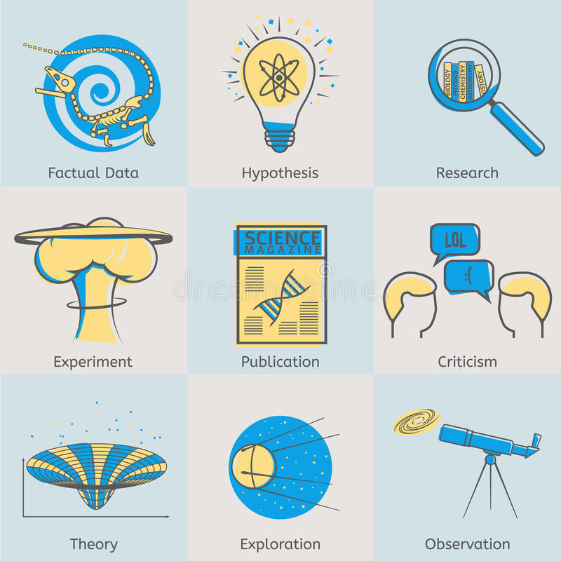 Flat line science icons set of factual data stock illustration