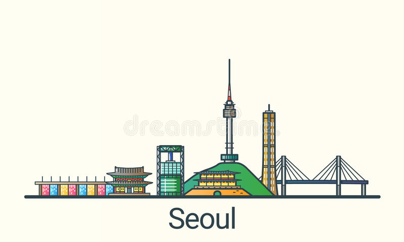 Flat line Seoul banner vector illustration