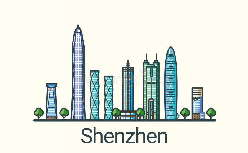 Flat line Shenzhen banner royalty free illustration
