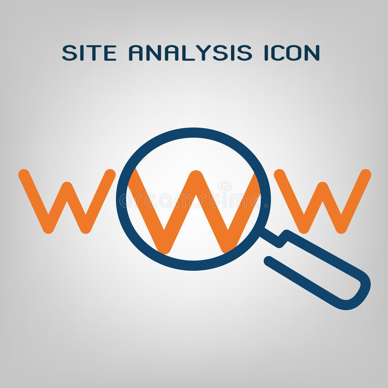 Flat line site analysis icon. SEO (search engine optimization) scan. Laconic blue and orange lines on gray background. Isolated royalty free illustration