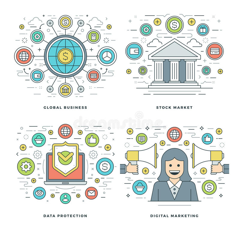Flat line Stock Market, Data Protection, Digital Marketing, Business Concepts Set Vector illustrations. stock illustration