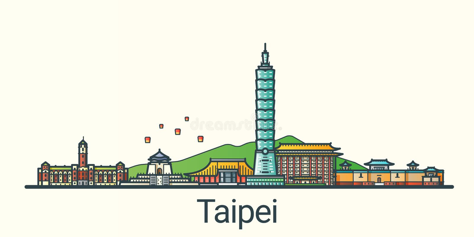 Flat line Taipei banner. Banner of Taipei city in flat line trendy style. All buildings separated and customizible. Line art vector illustration