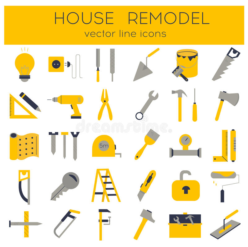 Flat line tools icons. Modern flat line tools icons set for home improvement royalty free illustration