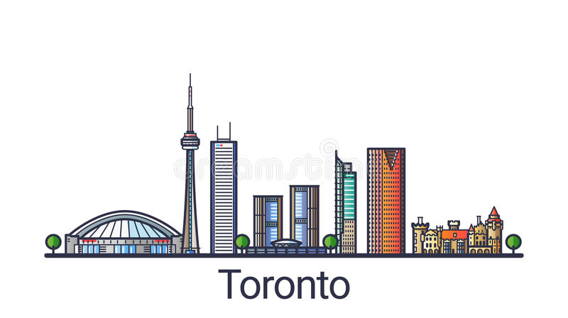 Flat line Toronto banner. Banner of Toronto city skyline in flat line trendy style. Toronto city line art. All buildings separated and customizable vector illustration
